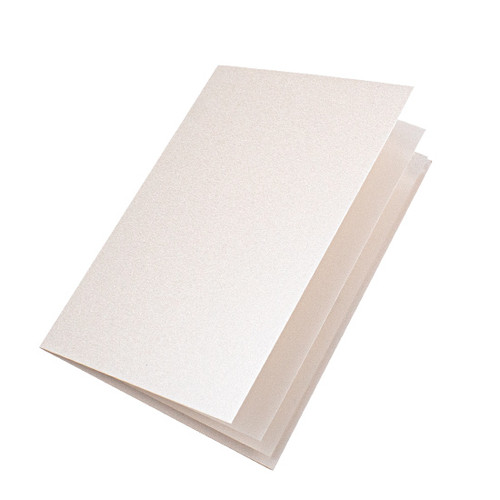 Ivory white pearl paper inserts, A4 folds to fit A5 cards