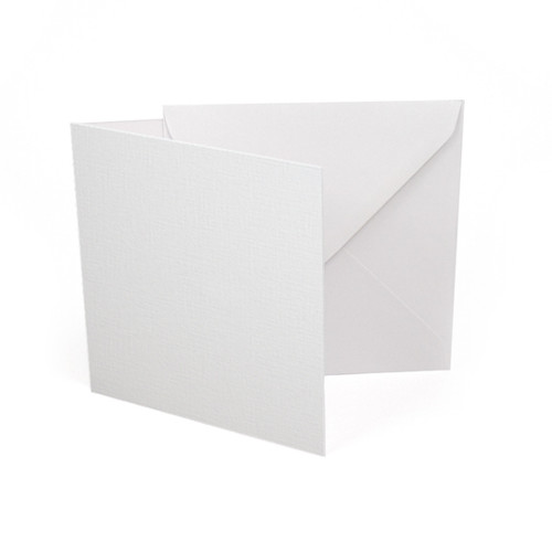 Small square white linen card blanks with envelopes