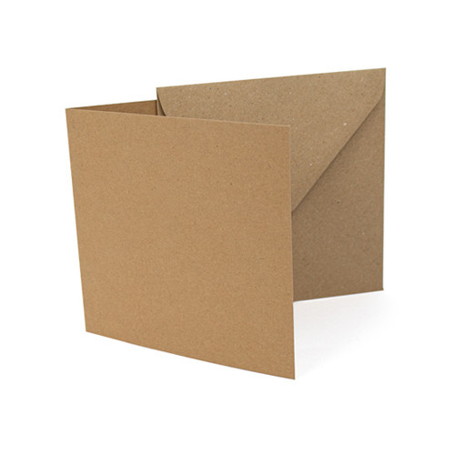 Large Square Card Blanks with Envelopes, Recycled Brown Kraft