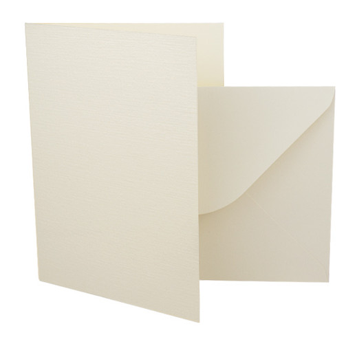 A5 Ivory linen card blanks with envelopes