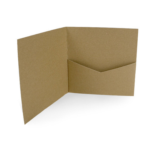 Pocketfold Cards with Envelopes, Recycled Brown Kraft