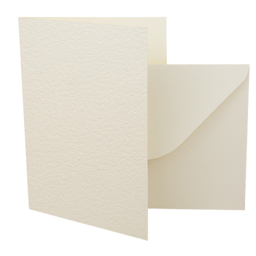 A5 Ivory hammer card blanks with envelopes