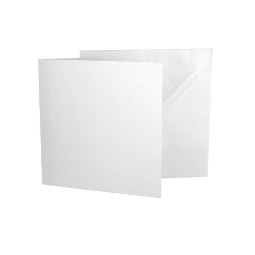 Large Square Card Blanks with Envelopes, Ice White Pearl 230gsm