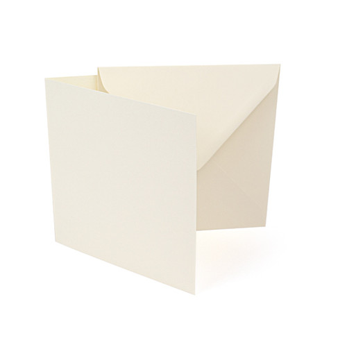 Small square ivory silk card blanks with envelopes