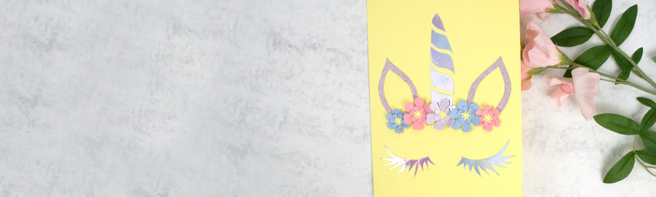 Unicorn with Flower Crown Greeting Card Tutorial