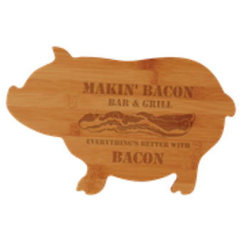 Personalized Bamboo Pig Shaped Cutting Board