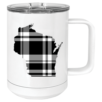 Black and White Plaid Wisconsin Mug