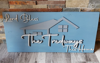 "Personalized ""Bless This Home"" Wood Sign"