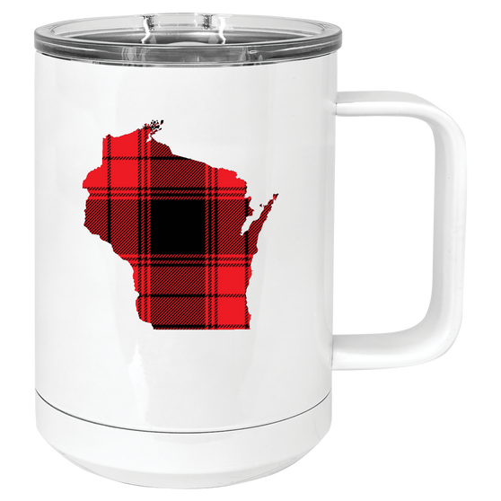 Red Buffalo Plaid Wisconsin Mug