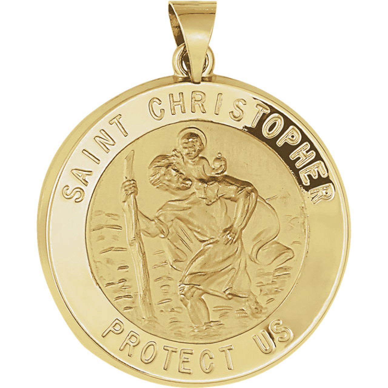 Christopher Medal 14K Yellow 15mm Hollow Round St