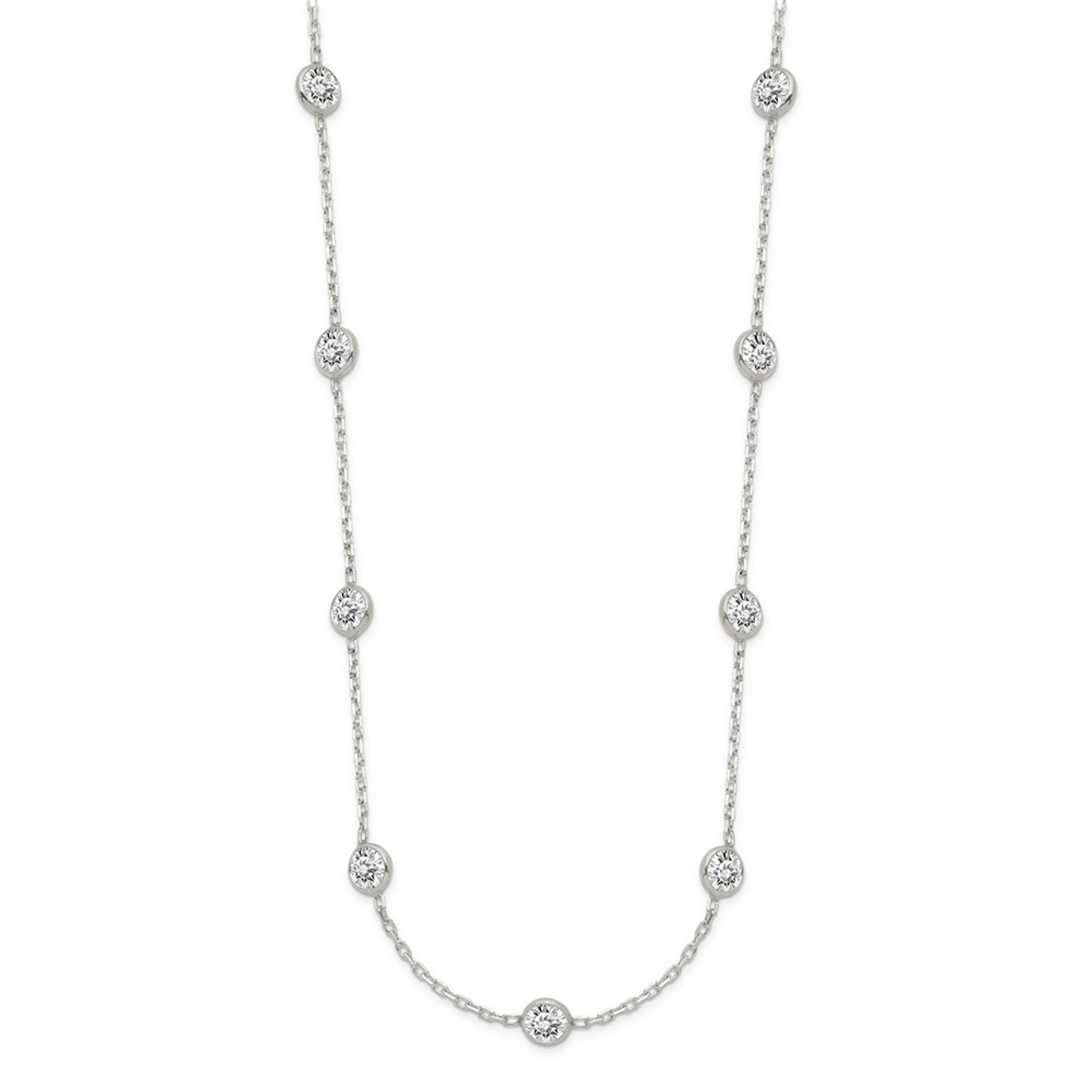 18 Sterling Silver Clear 4 MM CZ Necklace