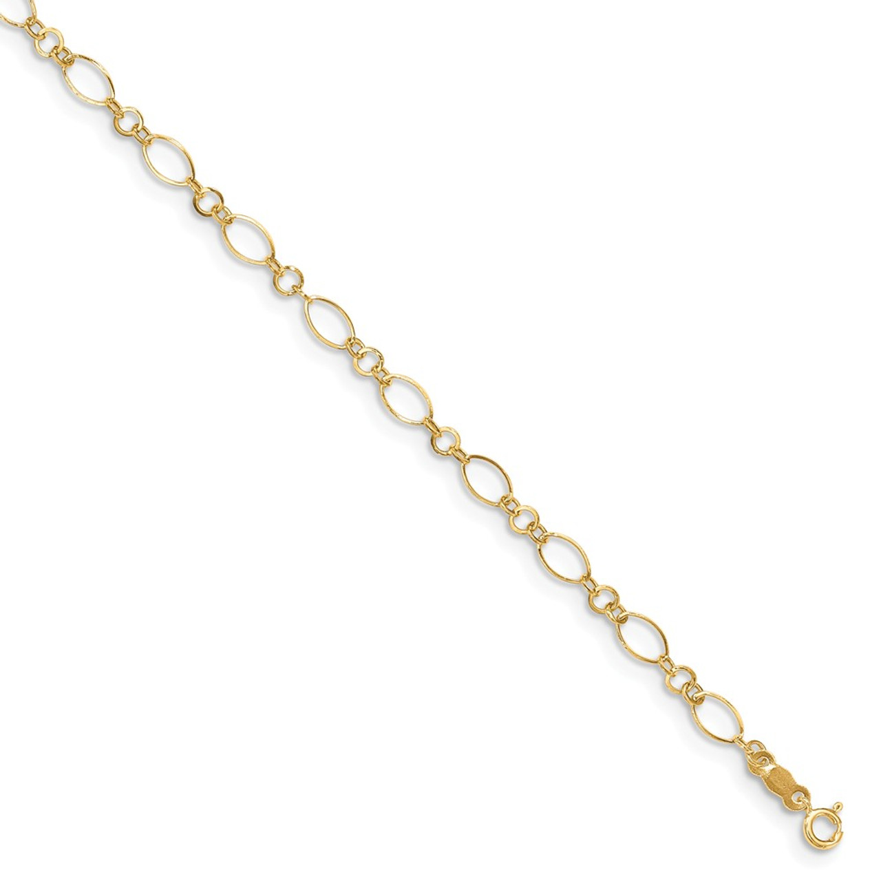 14kt Yellow Gold Oval Shapes 9in with 1in ext Anklet; 10 inch