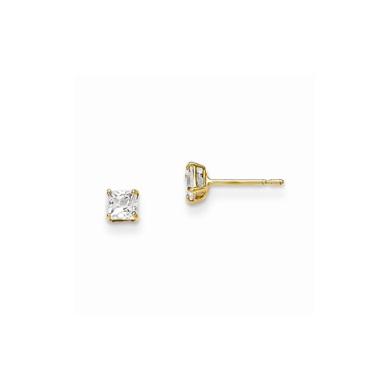 Solid 14k Yellow Gold 5mm Synthetic Sep Earrings