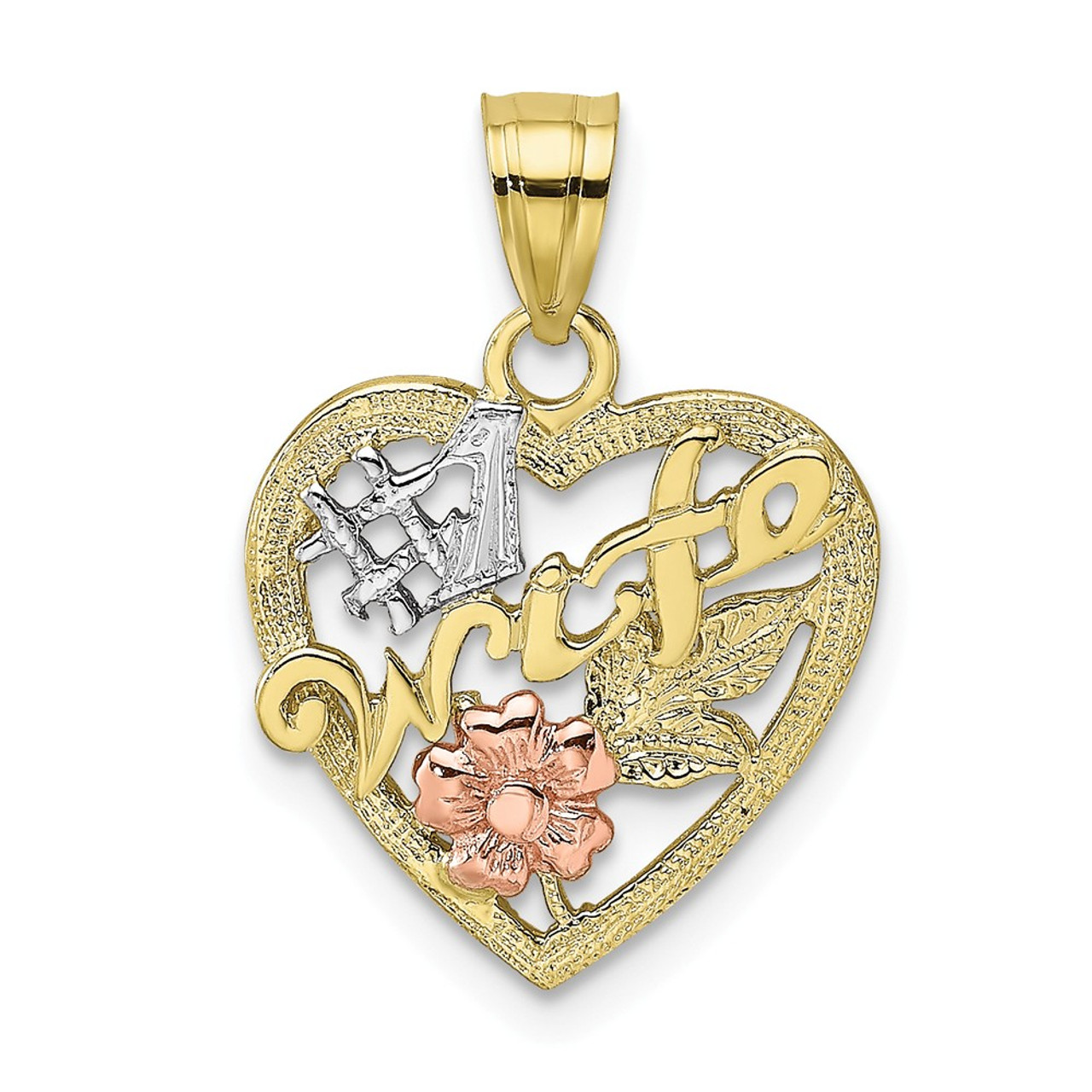 10K Two Tone Gold CZ 3-Heart Charm Pendant