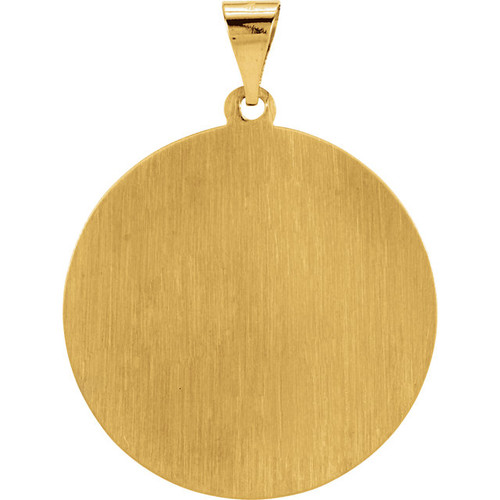 14K Yellow Gold 25mm Hollow Round St. Christopher Medal Pendant