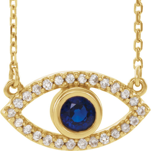 Genuine Blue & White Sapphire Evil Eye Necklace