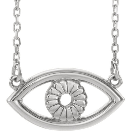 "14K White Gold Evil Eye 18"" Necklace"
