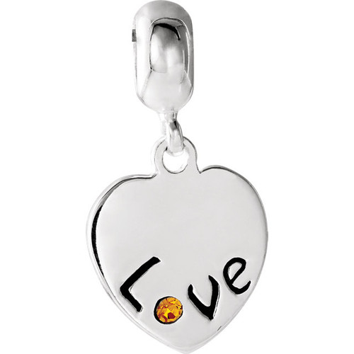 Kera  Sterling Silver 13mm Love Heart Dangle Charm with Crystal