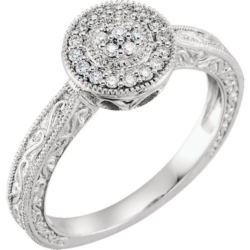 10K White Gold 1/6 CTW Diamond Halo Style Promise Ring