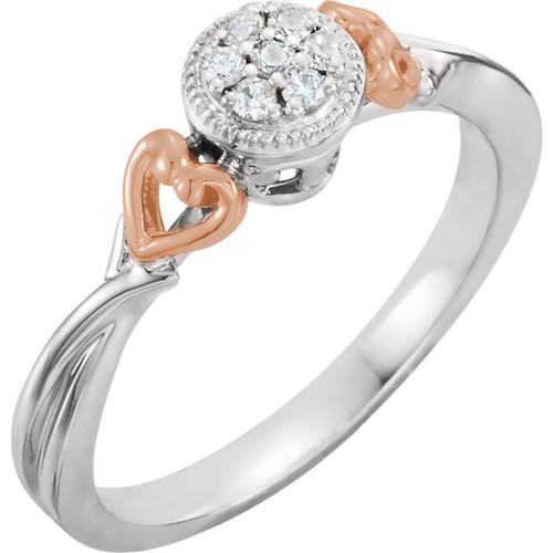 10K White & Rose Gold 1/10 CTW Diamond Promise Ring