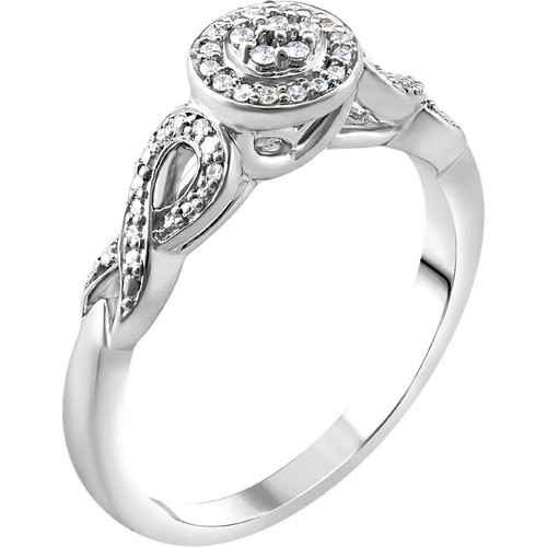 10K White Gold 1/10 CTW Diamond Accented Promise Ring
