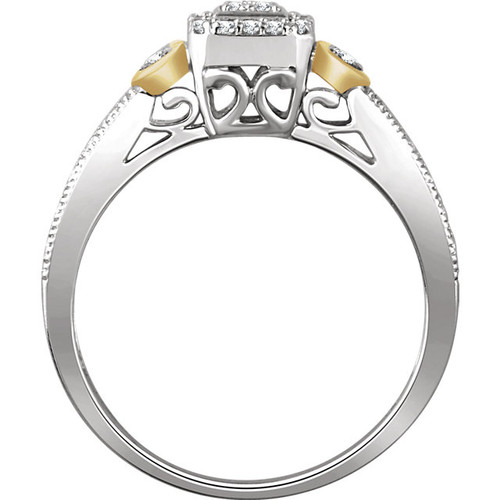 10K White & Yellow Gold 1/6 CTW Diamond Halo Style Promise Ring