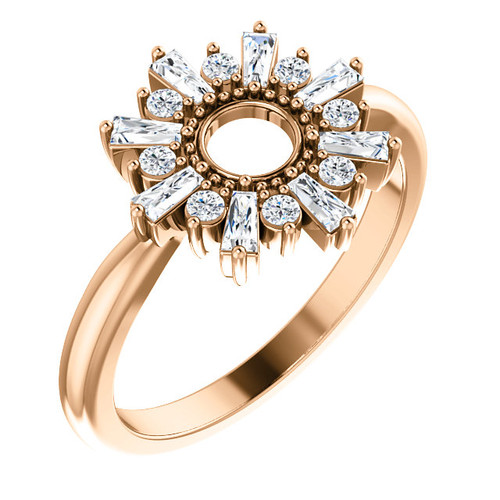 14K Rose Gold Diamond Circle Ring