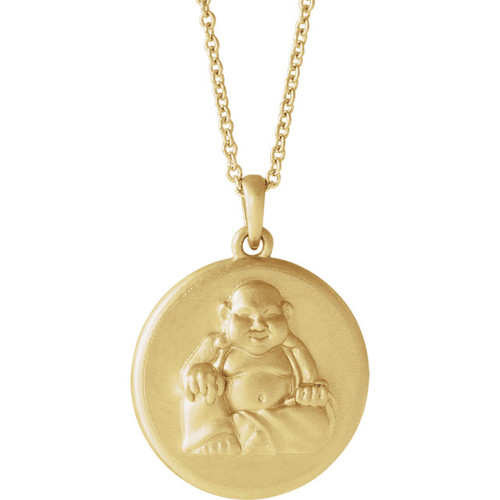 14K Yellow Gold Buddha Necklace