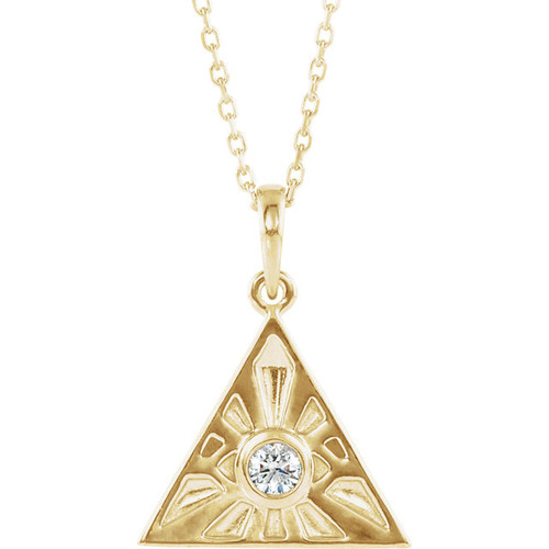 14K Yellow Gold Diamond Eye of Providence Necklace