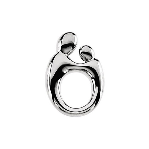 Sterling Silver Mother and Child Pendant - 14x9mm