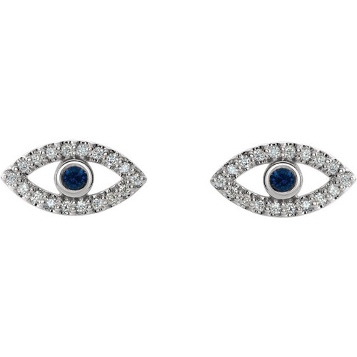 14K White Gold Genuine Blue Sapphire & Diamond Evil Eye Earrings