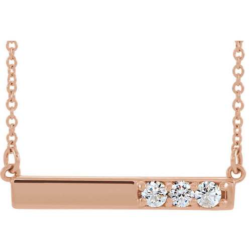 "14K Rose Gold Diamond Bar 18"" Necklace - 86773:607:P"