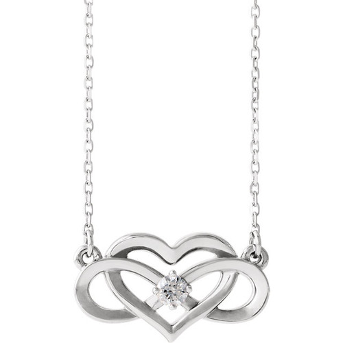 Sterling Silver Diamond Infinity Inspired Heart Necklace - 86677:604:P