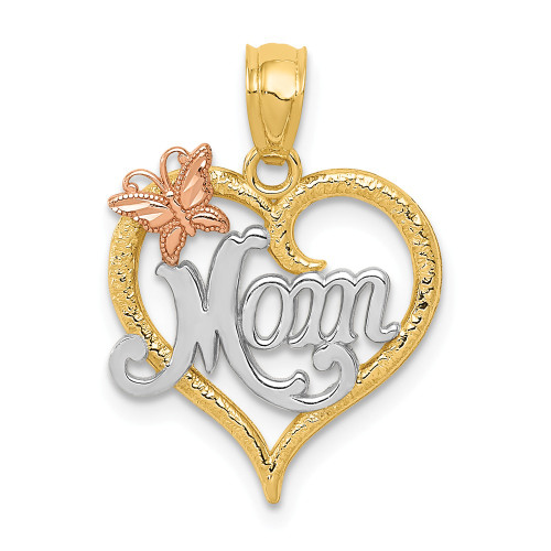 14k Two-tone Gold Mom Heart Butterfly Pendant - K2659