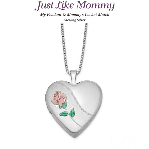 Just like Mommy - Sterling Silver Rose Heart Locket and Pendant QLS441SET