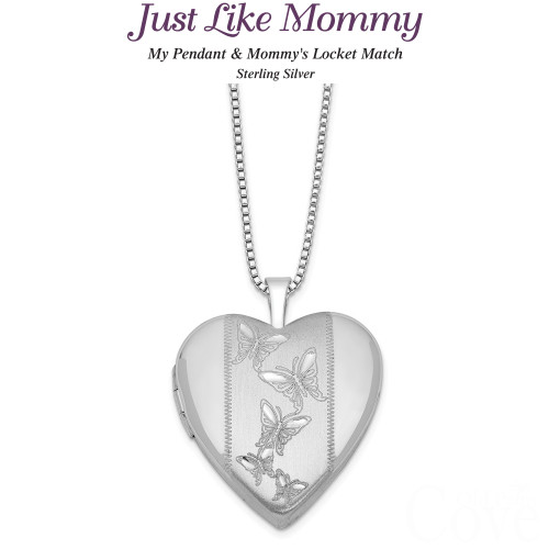 Just like Mommy - Sterling Silver Butterfly Heart Locket and Pendant QLS445SET