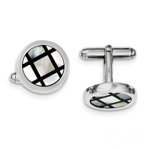 Sterling Silver Mother of Pearl and Black Enamel Cuff Links  - QQ449