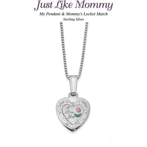 Just like Mommy - Sterling Silver Rose I Love You Heart Locket and Pendant QLS461SET