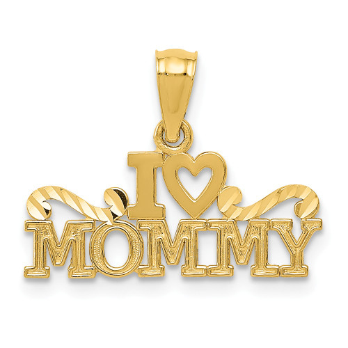 14k Yellow Gold I Heart Mommy Pendant - YC1080