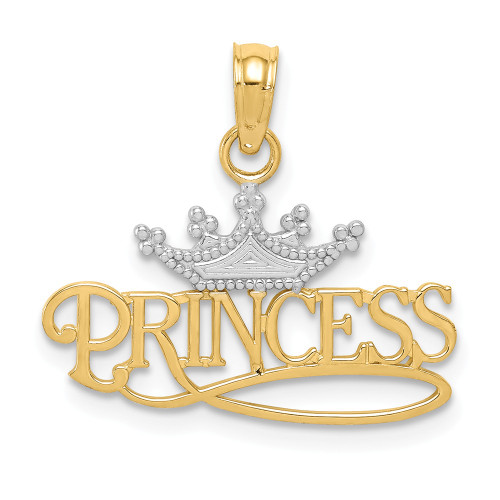 14k Yellow Gold and Rhodium Princess With Crown Pendant - K4750