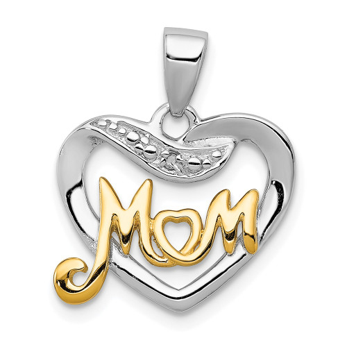 Sterling Silver Vermeil Diamond Heart Mom Pendant - QP1187