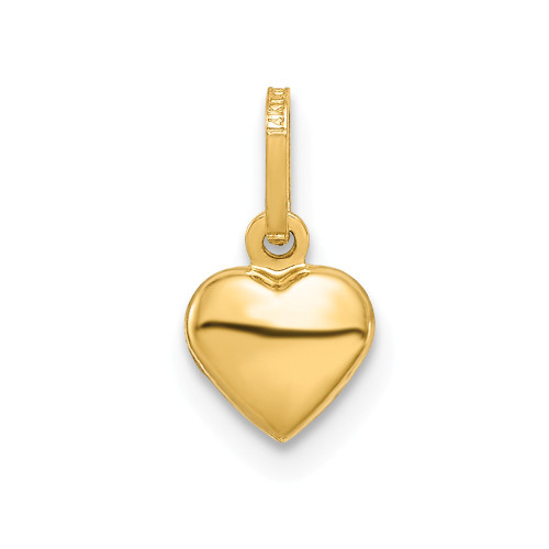 14k Yellow Gold Small Hollow Heart Charm - YC1063