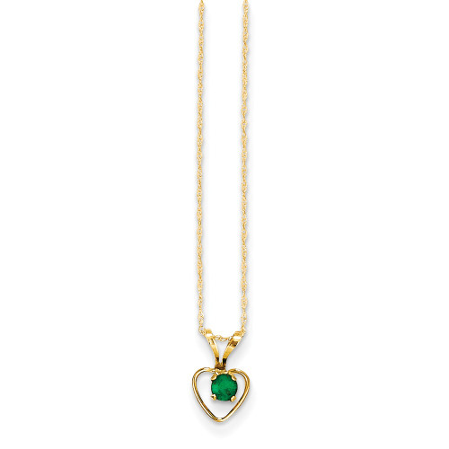 14k Yellow Gold Madi K Emerald Heart Birthstone Necklace GK407-15