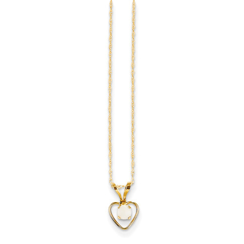 14k Yellow Gold Madi K Opal Heart 15 Inch Necklace GK412-15