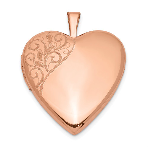 Sterling Silver Rose Gold-plated 20mm Polished Swirl Heart Locket - QLS745
