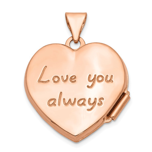 14k Rose Gold 18mm Scrolled Love you always Heart Locket - XL664