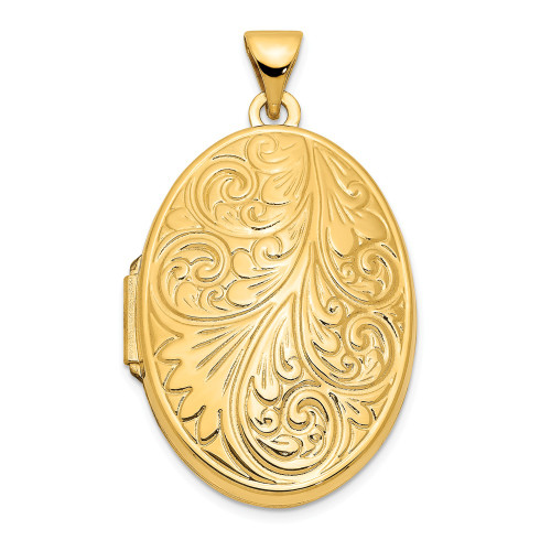 14k Yellow Gold Scroll Oval Locket - XL226