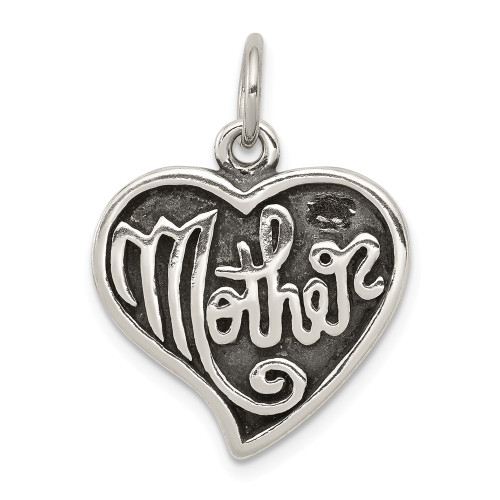 Sterling Silver Antique Mother Heart Charm - QC4585