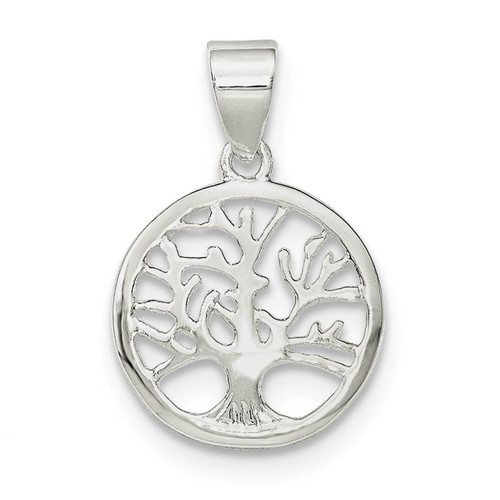 Sterling Silver Polished Round Tree Pendant - QP4319