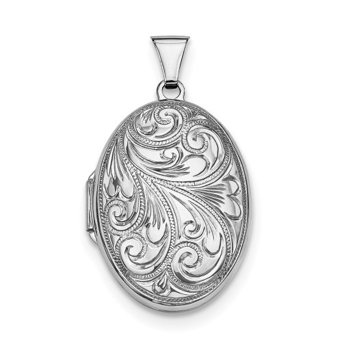 Sterling Silver Rhodium Plated Scroll Oval Locket - QLS10